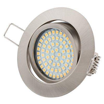Ultra Flach LED Einbaustrahler - Tolles Design - Warmweiss Kaltweiss - 3.5W 230V Edelstahl Optik Schwenkbar - Einbauspots - Einbauleuchten (Warmweiss))