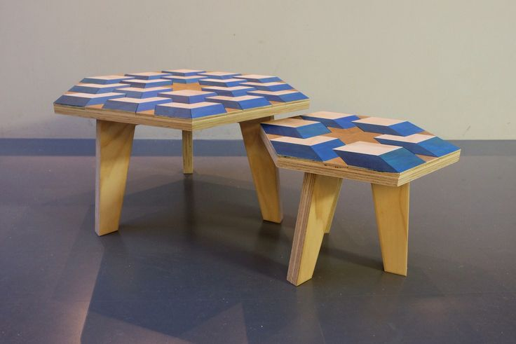 Two different size wood mosaic coffeetables by Milo's Makerij