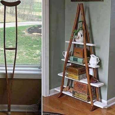 DIY Crutches Shelf