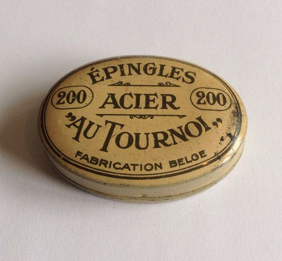 Gorgeous 1920s vintage Belgian metal tin needle box by LostPapers, €9.00