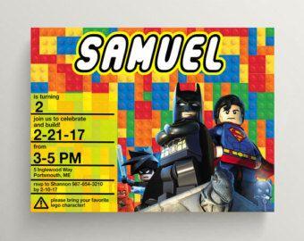 LEGO invitación invitación de cumpleaños de Lego Lego por BGCDesign