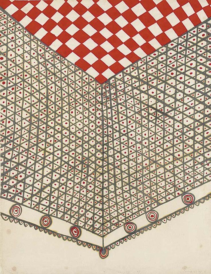 Alecos Fassianos - LE BALCON, gouache on paper