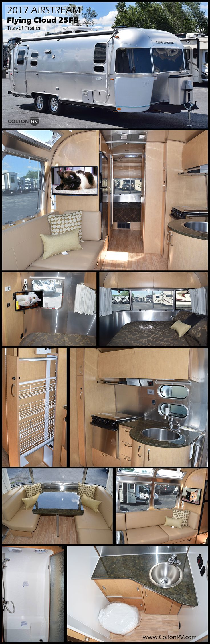 "2017 AIRSTREAM FLYING CLOUD 25FB Travel Trailer. Practical and efficient, the Flying Cloud invites you inside with the flair of modern design. Compared to its ""box-shaped"" competitors, it'll last longer, require less maintenance, offer better stability when towing, and cost less at the fuel pump."