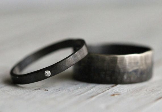 His & Hers Couples Ring Set-Personalized Hammered Silver Ring Set- 0.1CT White Diamond- Modern Engagement Ring, Wedding Band by Pale Fish NY...