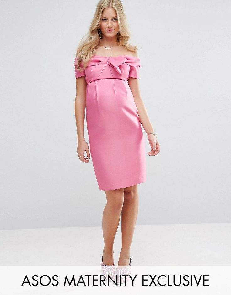 Get this Asos Maternity's jersey dress now! Click for more details. Worldwide shipping. ASOS Maternity Bow Front Dress - Pink: Maternity dress by ASOS Maternity, Smooth woven fabric, Bardot neck, Bow detail, Kick split, Slim fit - cut close to the body, Designed to fit through all stages of pregnancy, Machine wash, 100% Polyester, Our model wears a UK 8/EU 36/US 4 and is 178cm/5'10 tall. Maternity dressing gets bumped up to next-level status with the ASOS Maternity edit. Designed by the…