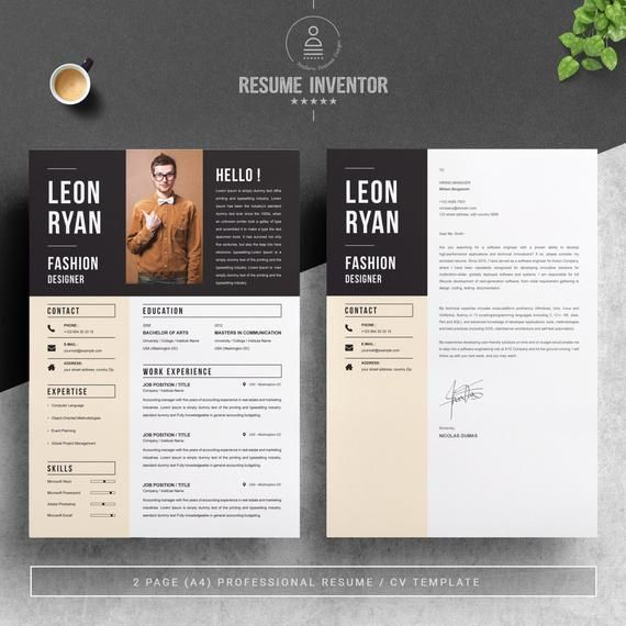 Bold Resume Template For Fashion Designer Instant Download