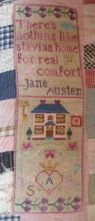 "PDF Cross Stitch Pattern Download  Verse: There's nothing like staying home for real comfort. -Jane Austen, Emma  Stitch Count: 60 X 205     Fabric in Model: 30ct Abecedarian R&R Linen Finished Size: 4"" X 14"" ​ ::PDF Instant Download Chart is emailed to you upon purchase."