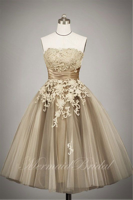 2013 champagne Outdoor/ Destination wedding dress. Straight up, if this were floor length, my dream dress