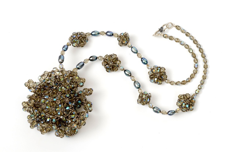 Ingrid K.de Bonstetten black diamond cristal and blue grey pearls necklace