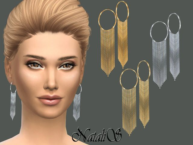 Sims 4 CC's - The Best: Hanging chain drop Earrings by NataliS