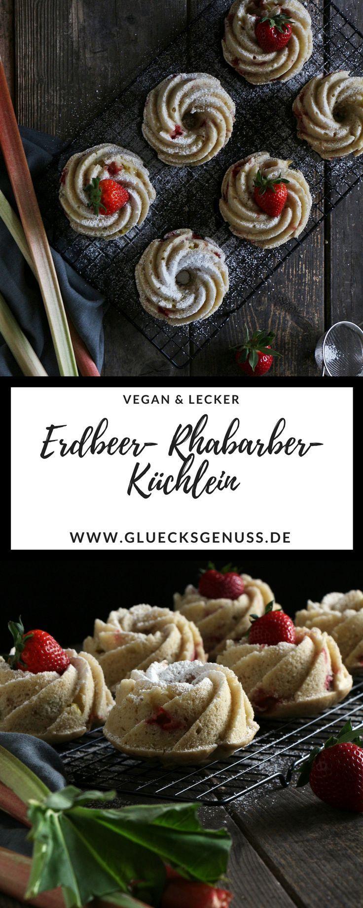 Dieses Rezept für Erdbeer-Rhabarber-Küchlein ist unglaublich lecker und einfach zubereitet. Dieser Grundteig lässt sich auch mit anderm Obst prima verarbeiten. - Glücksgenuss
