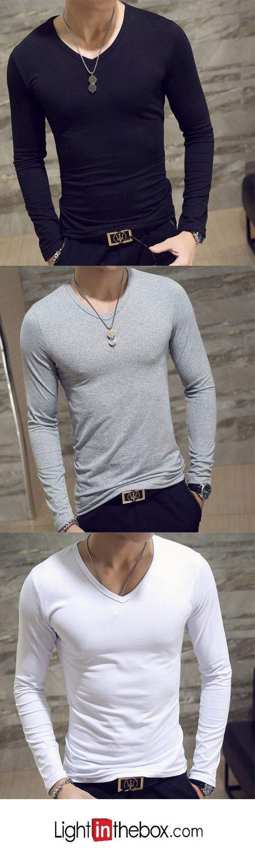 Men's Casual/Daily Simple V Neck Long Sleeves Spring Fall T-shirt