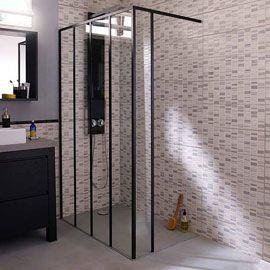 Kit de d marrage paroi de douche noire 60 cm zenne paroi de douche fixe noire - Paroi fixe douche 120 ...