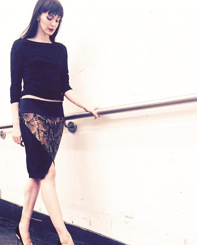 Piton print, detachable flaps, hips style skirt. Olivia Cowley model & styling Korizma design