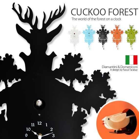 壁掛け時計 鳩時計 おしゃれ 掛け時計 掛時計 時計 ウォールクロック シンプルモダン 北欧 クロック 森をモチーフとした癒しのデザイナーズ鳩時計 CUCKOO FOREST クックフォレスト ブラック オレンジ グリーン スカイブルー 北欧 セール,お買