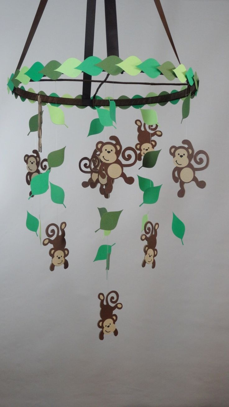 Monkey Jungle Baby Mobile with Leaves by whimsicalaccents on Etsy https://www.etsy.com/ca/listing/463378039/monkey-jungle-baby-mobile-with-leaves