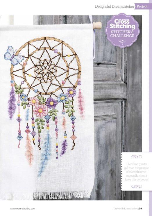 Borduurpatroon Kruissteek Dromenvanger *Embroidery Cross Stitch Pattern Dreamcatcher ~met Bloemen 1/4~