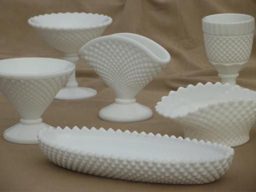 vintage milk glass lot Westmoreland English hobnail pattern tray, vases etc.