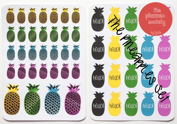 Pineapple Stickers Set di ThePlannerSociety su Etsy