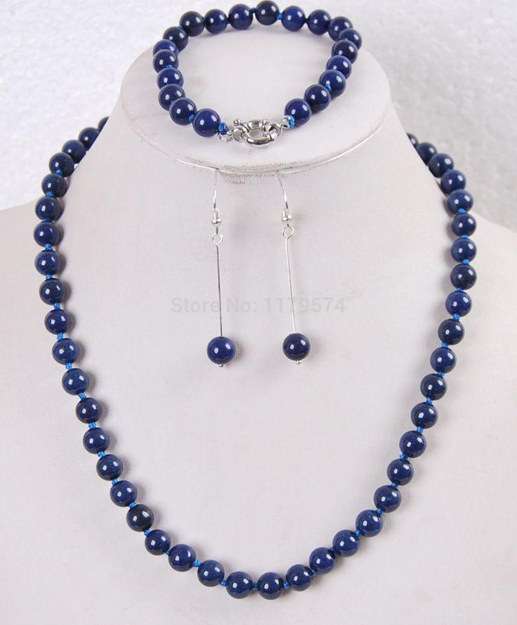 Новая бесплатная доставка новая мода очаровательная 8 мм Египетский Лазурит Круглые Бусины Джаспер ожерелье браслет серьги W00110
