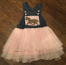 Mud Pie Girls Horse Pink Tutu Denim Dress Overall Coverall Size 2T Mudpie