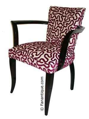 Fauteuils bridge art déco, mobilier acajou sièges art déco,