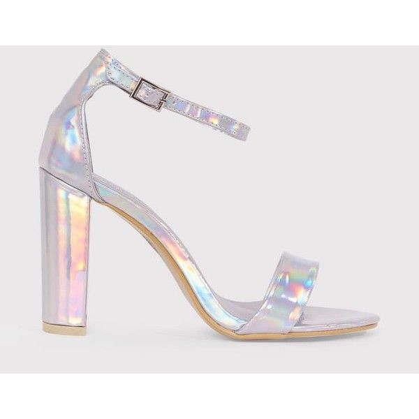 May Silver Holographic Block Heeled Sandals ($16) ❤ liked on Polyvore featuring shoes, heels, grey, silver shoes, grey shoes, heeled sandals, block-heel shoes and silver sandals