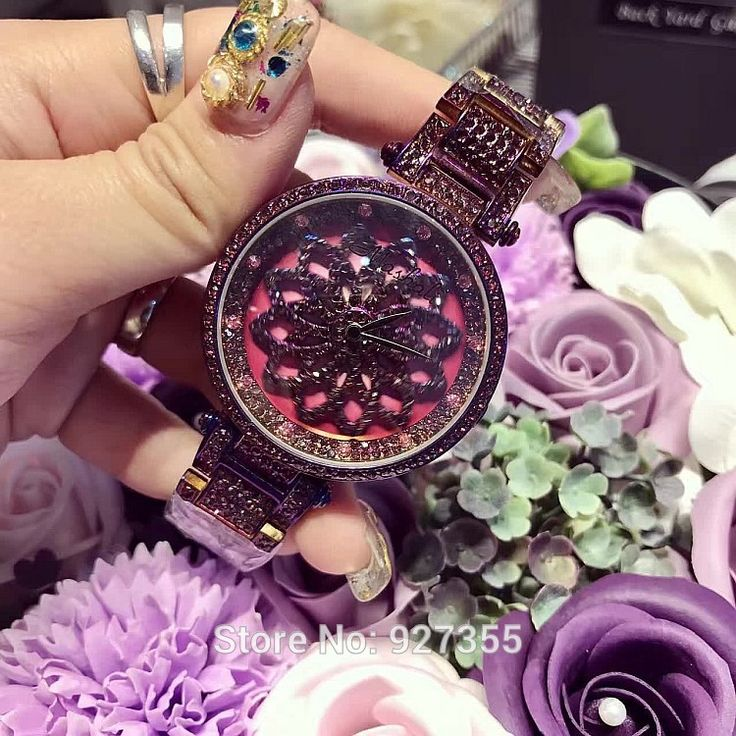 US $103.55 - 2017 New Lucky Flower Women Purple Watches Lady Shining Rotation Dress Watch Big Diamond Stone Wristwatch Girl Clocks Hours