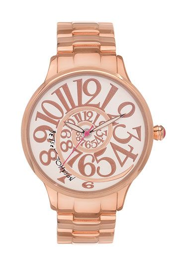 Betsey Johnson 'Lots 'n' Lots of Time' Swirl Dial Watch available at NordstromAlice In Wonderland Jewelry, Rose Gold Betsy Watches, Rabbit Hole, Betsy Johnson, Betseyjohnson, Rose Gold Watches, Johnson Watches, Wonderland Watches, Betsey Johnson