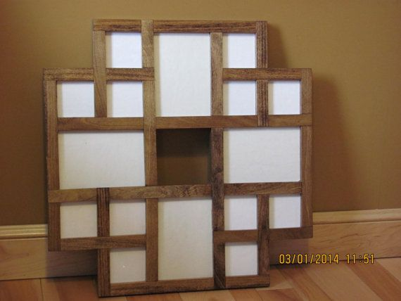 This is a handmade wooden collage picture frame that will hold 16 pictures. It will hold 12 pictures that are 3 1/4 X 3 1/4 and 4 pictures that