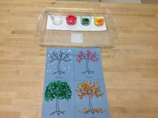 Making season trees with Q-tips and paint