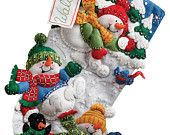"SNOW FUN 18"" Felt Christmas Stocking Frolicking Snowmen and Penguin"