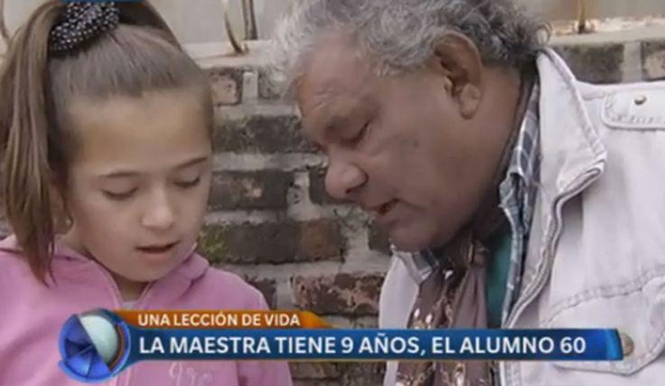 """La """"pequeña maestra"""" Pilar, de tan sólo 9 años, le enseñó a leer y a escribir a su """"alumno"""" de 60."""