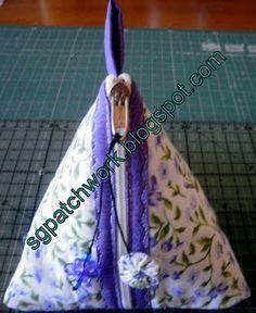 SG patchwork: Passo a passo porta moeda triangular ou pirâmide