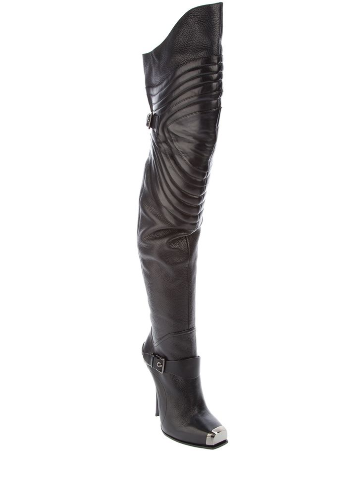 black leather thigh high boot by Gianmarco Lorenzi