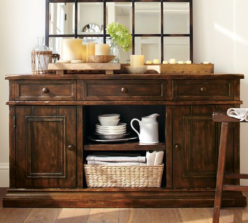 Cortona Buffet | Pottery Barn  Consider my baskets in open shelves along bottom?