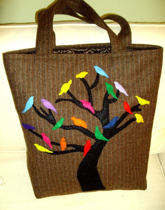 WINTER BEAUTIES  Wool artful  unique handbag   Handmade hand embroidered by Apopsis