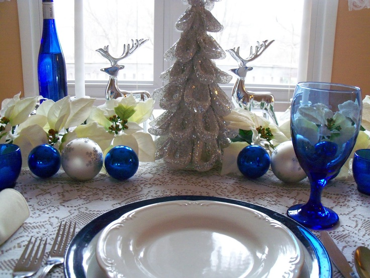Christmas Blue And White And Silver Table Setting