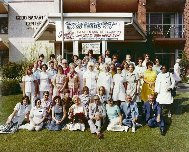 #TBT  Staff members at Olathe Good Samaritan Center pose for a photo in 1978 to celebrate the location's 25th anniversary.In July 1952, the Society purchased a large Victorian home, located at 572 East Park, from the city of Olathe, Kansas. The Society offered $20,000 – payable over a three-year period – for the home, which was once intended to be the first Olathe Hospital.