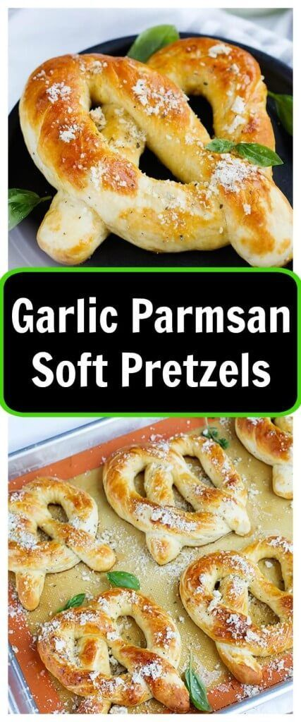 Garlic Parmesan Soft Pretzels - Fresh soft pretzels mixed with herbs and Parmesan cheese for a tasty treat any time. These pretzels mimic Auntie Anne's and are the perfect savory snack.