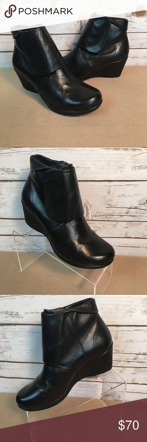 """Dansko Black Wedge Ankle Boots Dansko Black Wedge Ankle Boots.  EU 38/US 7.5-8.  Pre owned - gently worn.  Wedge approx 2 3/4"""". Dansko Shoes Wedges"""