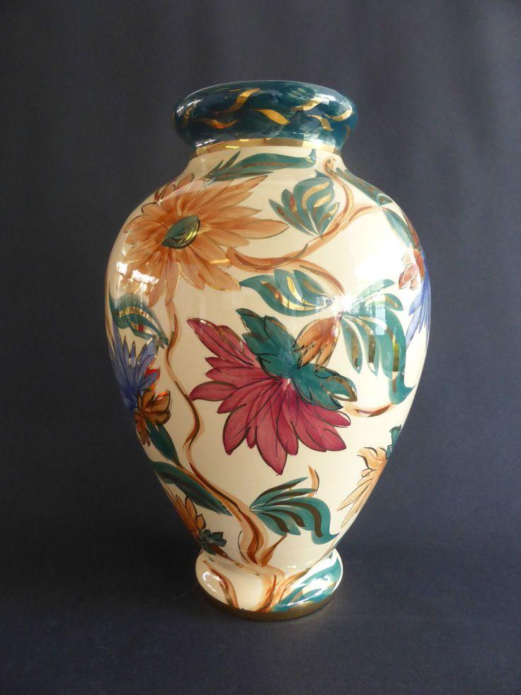 monumental vase peint main jemappes belgique decor floral. Black Bedroom Furniture Sets. Home Design Ideas