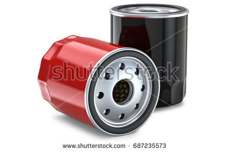 Red and black automobile oil filter. 3d llustration, 3D render, isolated on white background