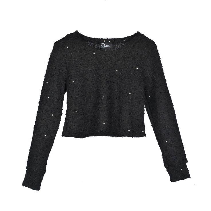 Sweater corto, tela lanilla, con pelotitas y lentejuelas chicas