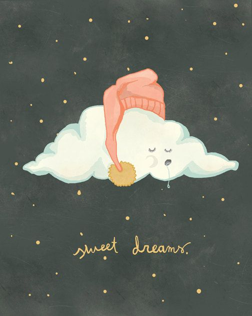Sweet Dreams, cloud unisex nursery art, 8x10 print of original illustration
