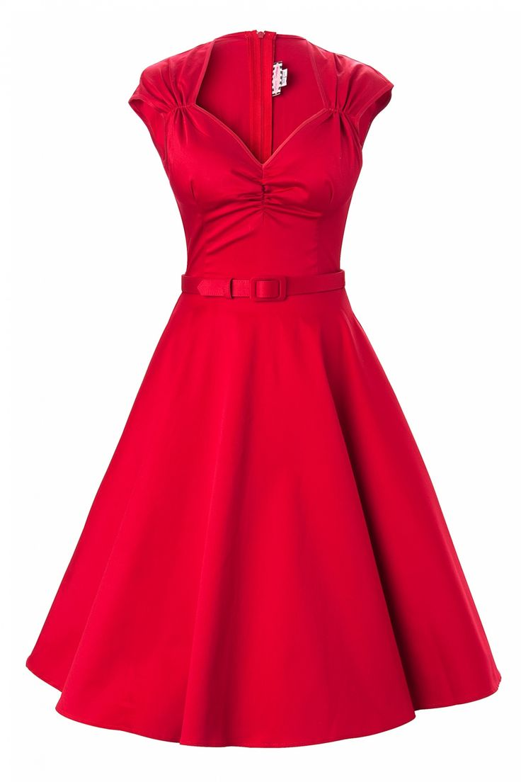 Pinup Couture - Heidi dress in Red Sateen