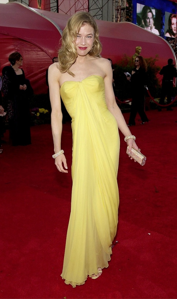 Renee Zellweger in vintage Jean Desses (Oscars 2001); definitely not the beautiful movie star, but always love her dresses, especially this one. The canary yellow is daring.