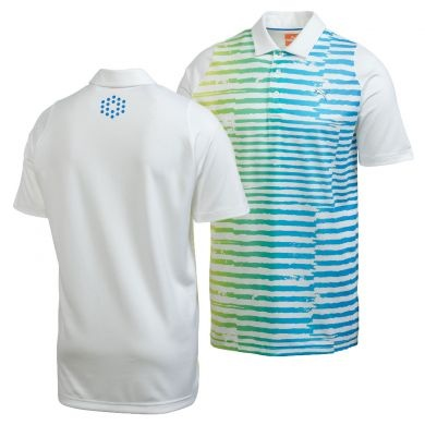 As worn by Rickie Fowler during the 2nd Round of the 2013 WGC Cadillac at Doral's TPC Blue Monster. The Puma Golf Duo-Swing Stripe Polo with it's ragged stripes in marine-inspiring shades of blue and green looks fantastic, and wears lightweight and cool. Engineered specifically to accommodate the motions of the golf swing.