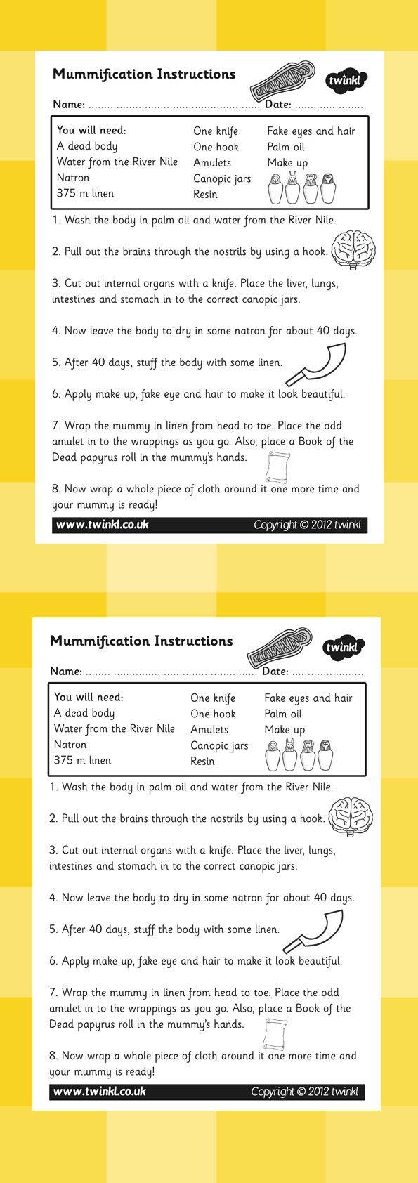 KS2 Ancient Egypt- Mummification Instructions