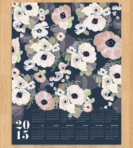 Lovely printed designs grace the large 2015 Canvas Wall Calendar. Step 1: tack it onto a cork board or frame and hang it in the hallway. Step 2: bask in the glorious, vibrant color the whole year through.
